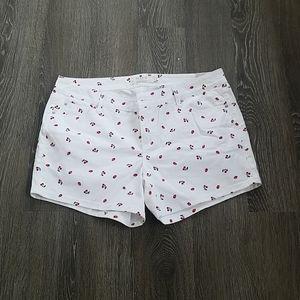 Cherry print denim shorts